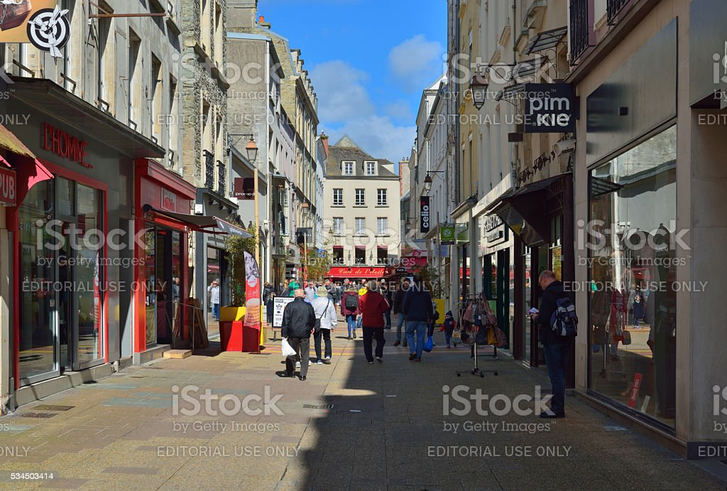 Cherbourg Retail District Shoppers stock photo