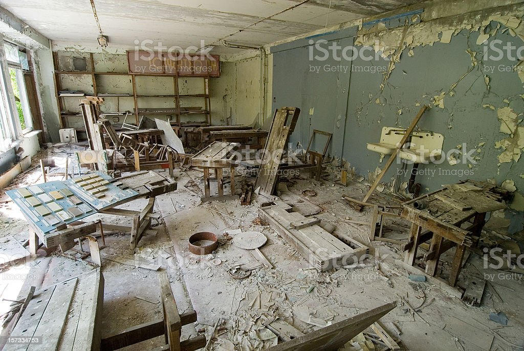 Chernobyl after disaster. Abandoned school stock photo