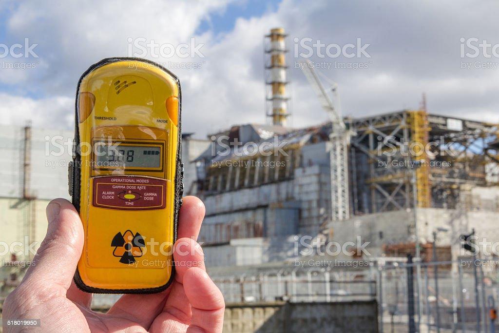 UKRAINE. Chernobyl Exclusion Zone. - 2016.03.19. Dosimeter and stock photo