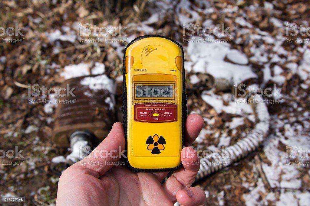 UKRAINE. Chernobyl Exclusion Zone. - 2016.03.19. Dosimeter on stock photo