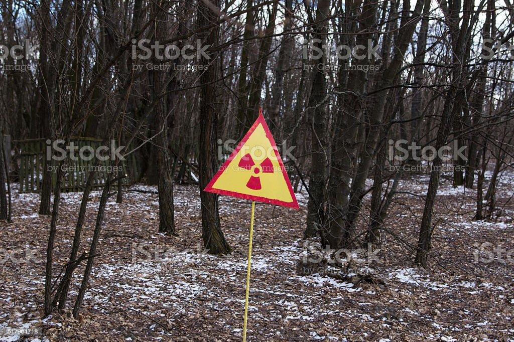 UKRAINE. Chernobyl Exclusion Zone. - 2016.03.19. Sign of stock photo