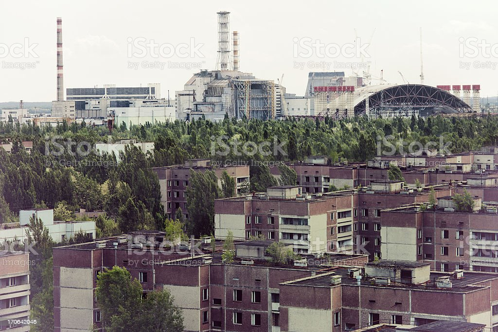Chernobyl nuclear reactor and Pripyat ghost town stock photo