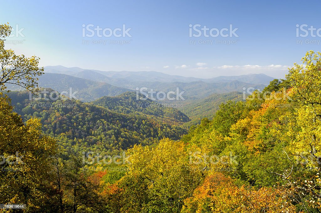 Cherohala Skyway in late October, NC, USA royalty-free stock photo