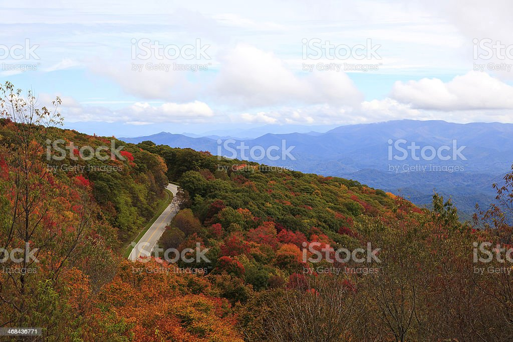 Cherohala Skyway Road in the Mountains stock photo
