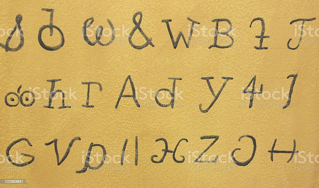 Cherokee Alphabet Black on Parchment Color stock photo