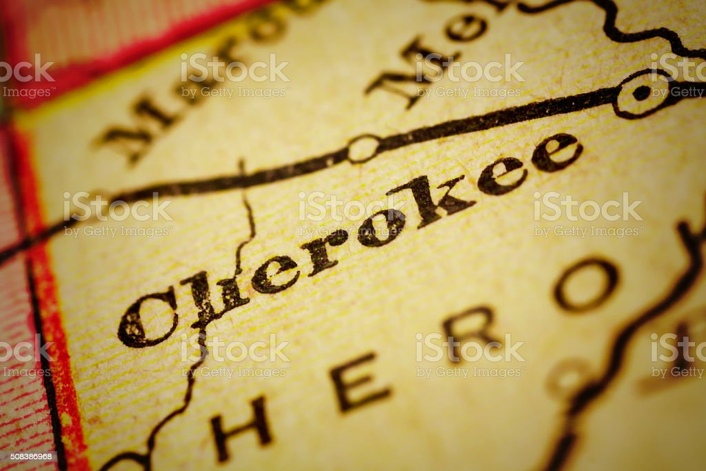 Cherokee, Iowa on an Antique map stock photo
