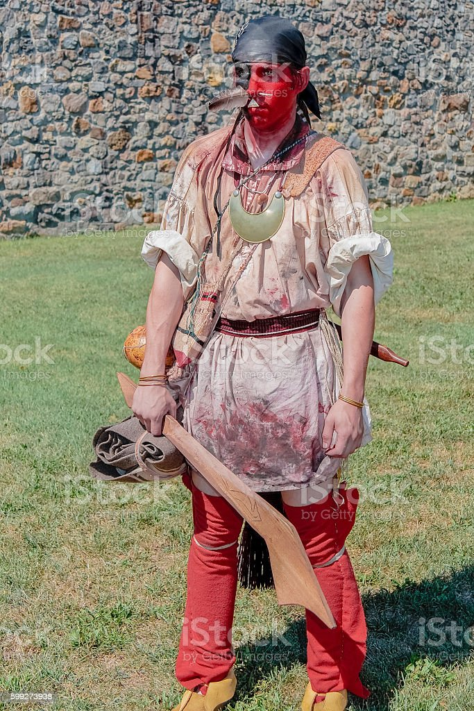 Cherokee Warrior Holding Wooden War Club stock photo