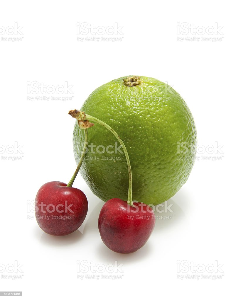 cherries and lime stock photo