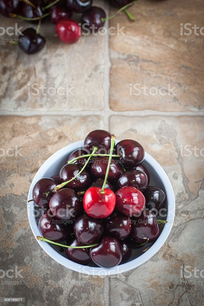 Cherries in a bowl stock photo