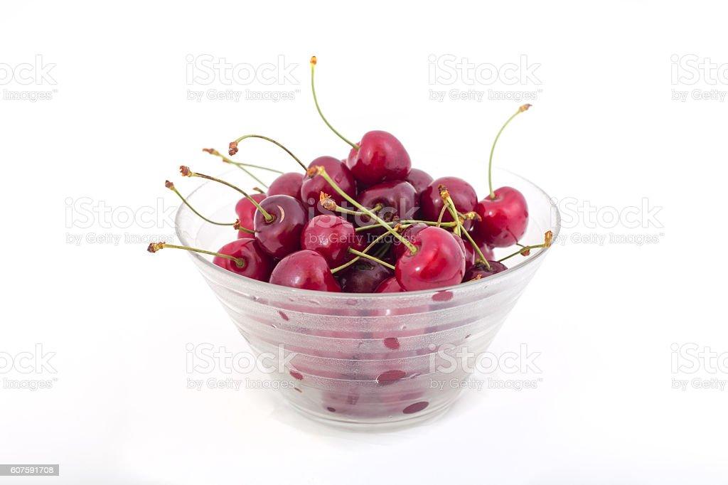 Cherries in bowl. stock photo