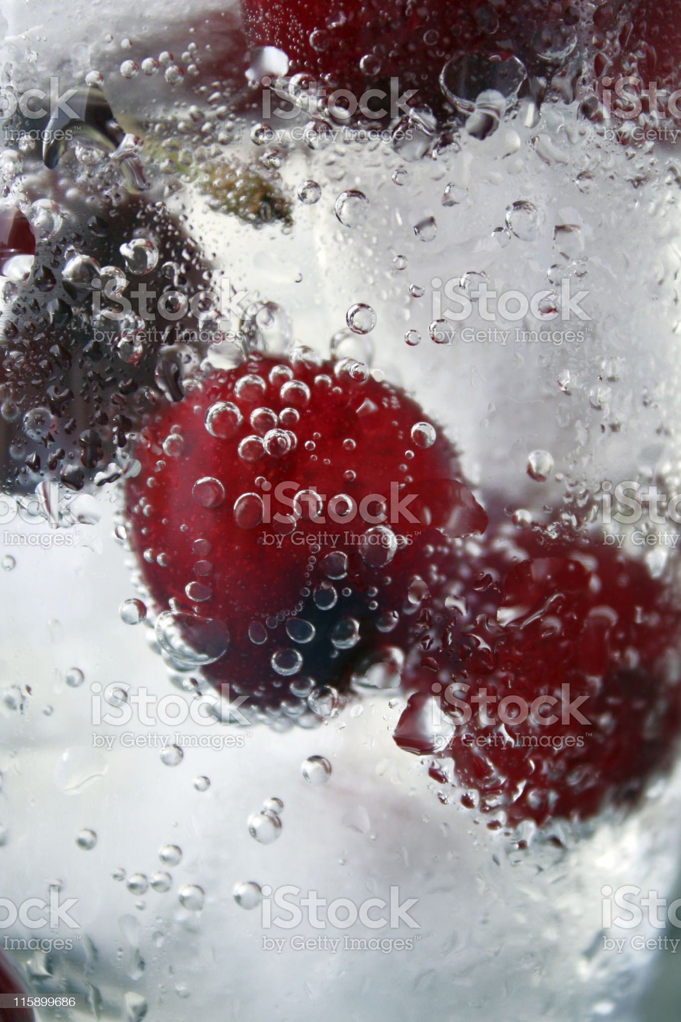cherries in glass with ice royalty-free stock photo