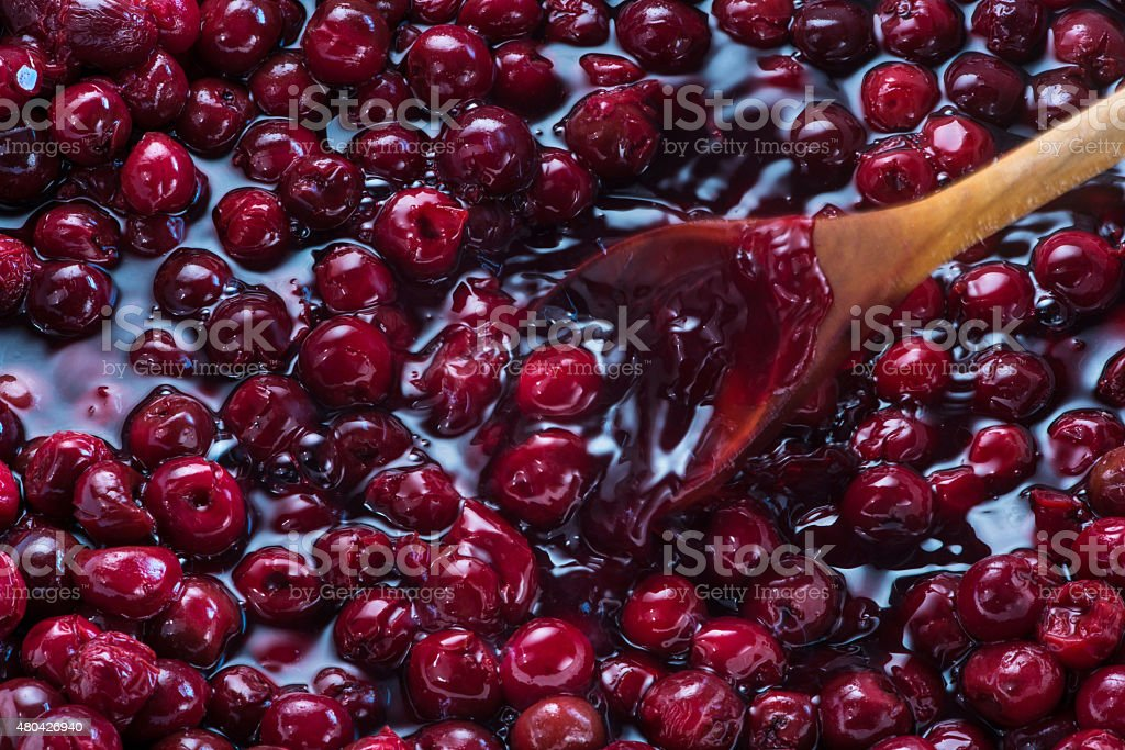 Cherries in syrup stock photo