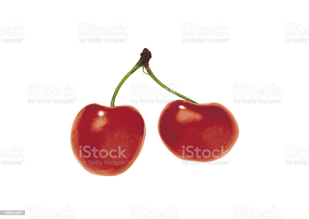 Cherries; objects on white background stock photo
