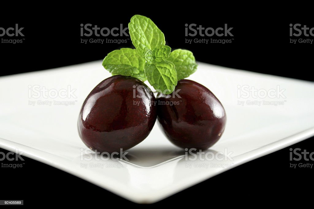 Cherries On A Plate royalty-free stock photo