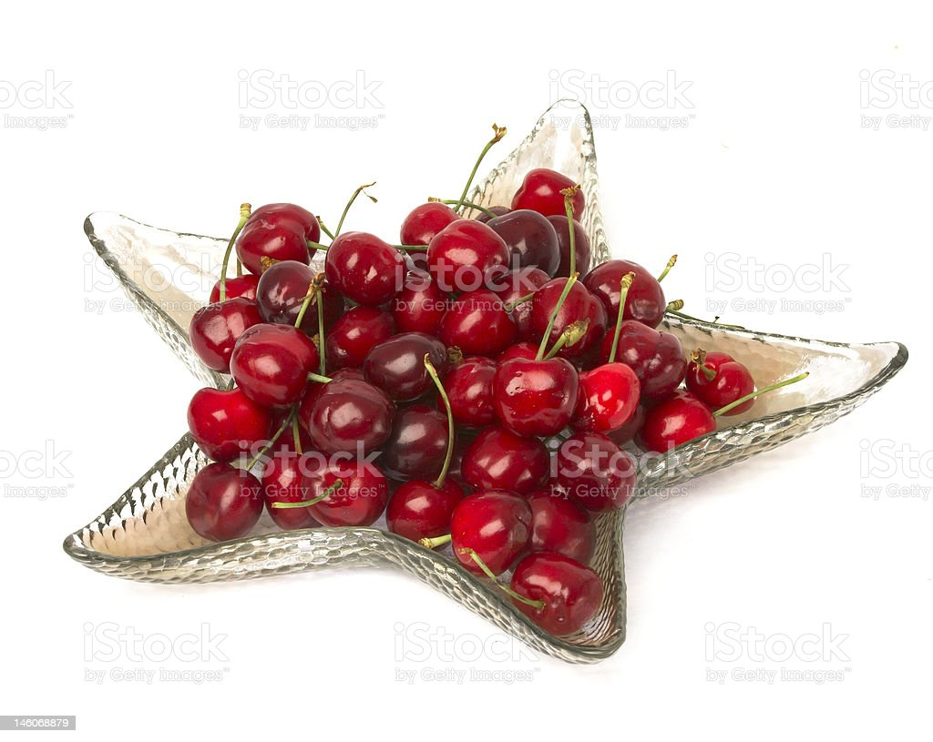 cherries on plate stock photo