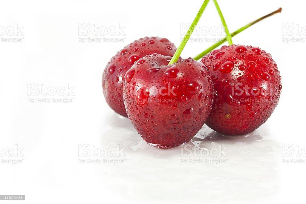Cherries on white stock photo