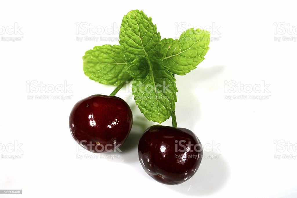 Cherries With Mint royalty-free stock photo