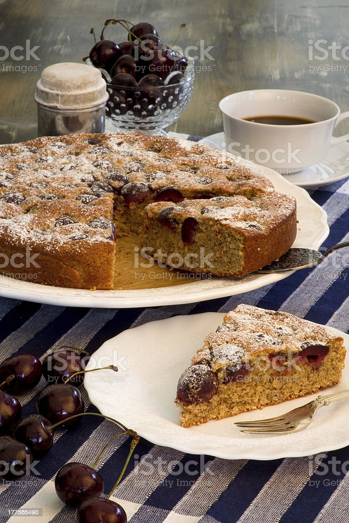 Cherry Almond Cake With Fresh Cherries And Coffee royalty-free stock photo