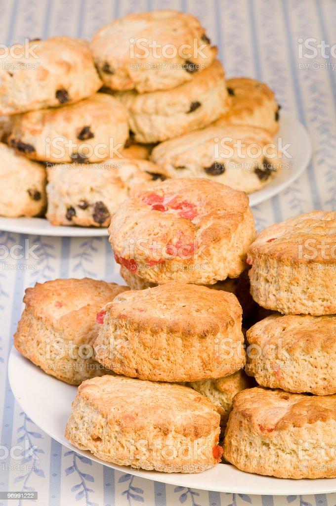 Cherry and raisin scones stock photo