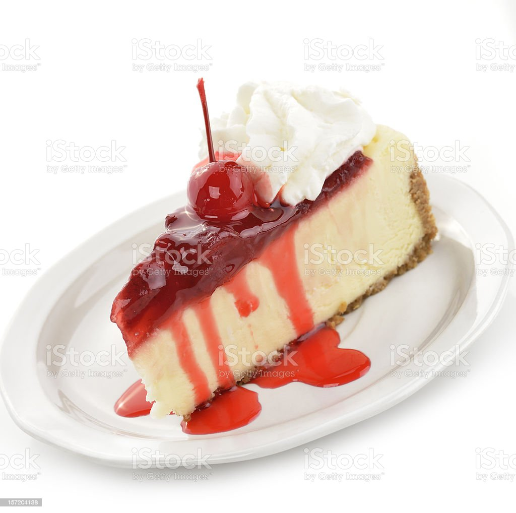 Cherry And Strawberry Cheesecake royalty-free stock photo