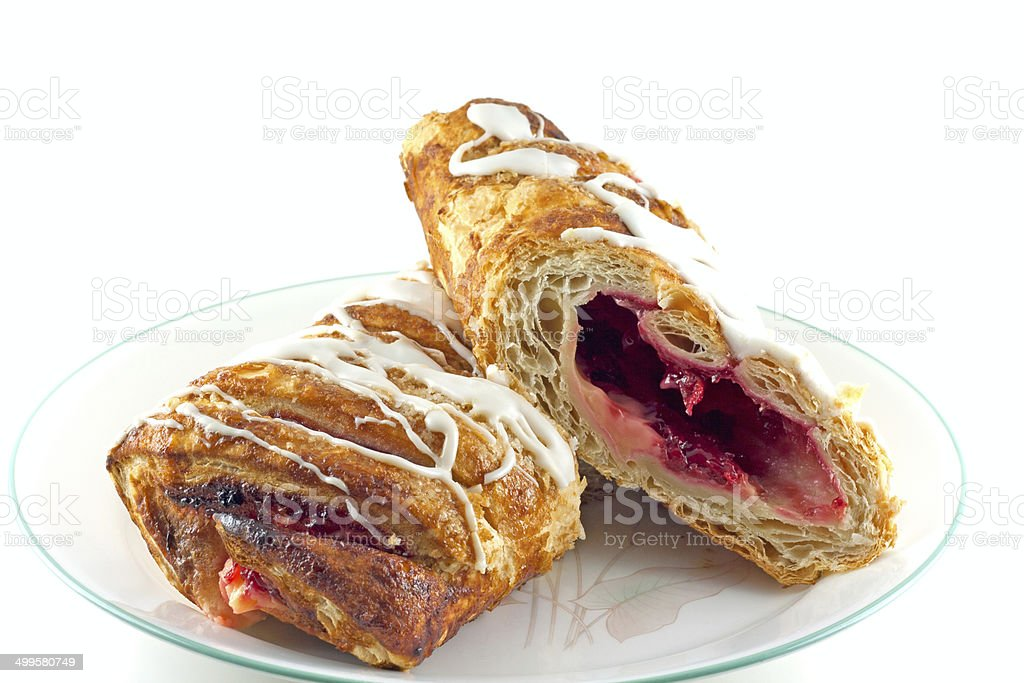 Cherry Bavarian Cream Strudel stock photo