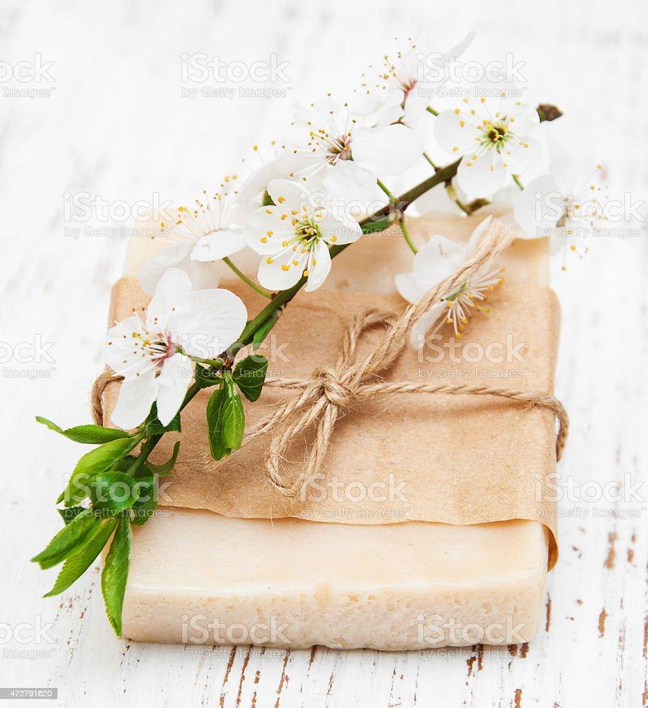 Cherry blossom and handmade soap stock photo