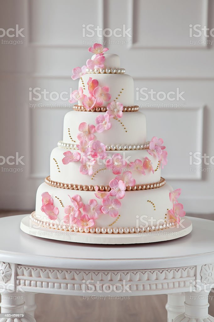 cherry blossom cake stock photo