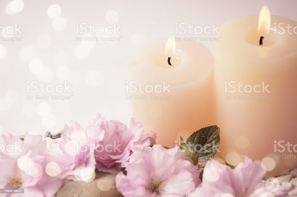 Cherry Blossoms and candles royalty-free stock photo
