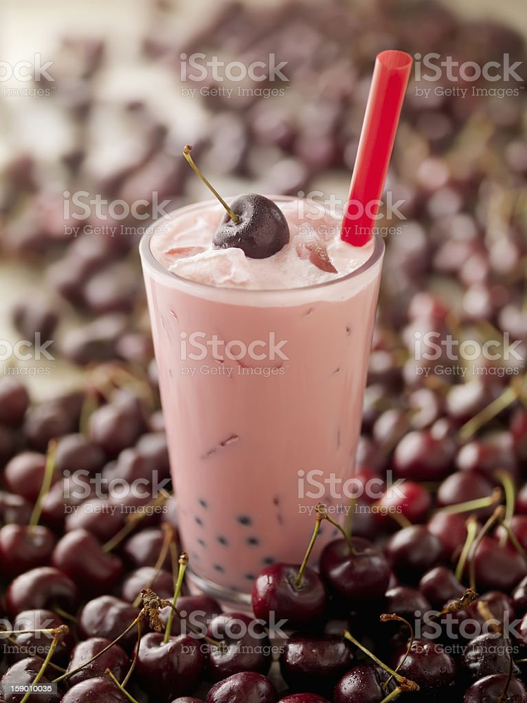 Cherry Bubble Tea stock photo