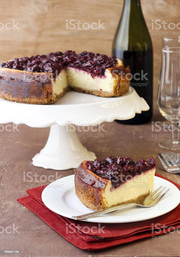 Cherry cheesecake and wine stock photo