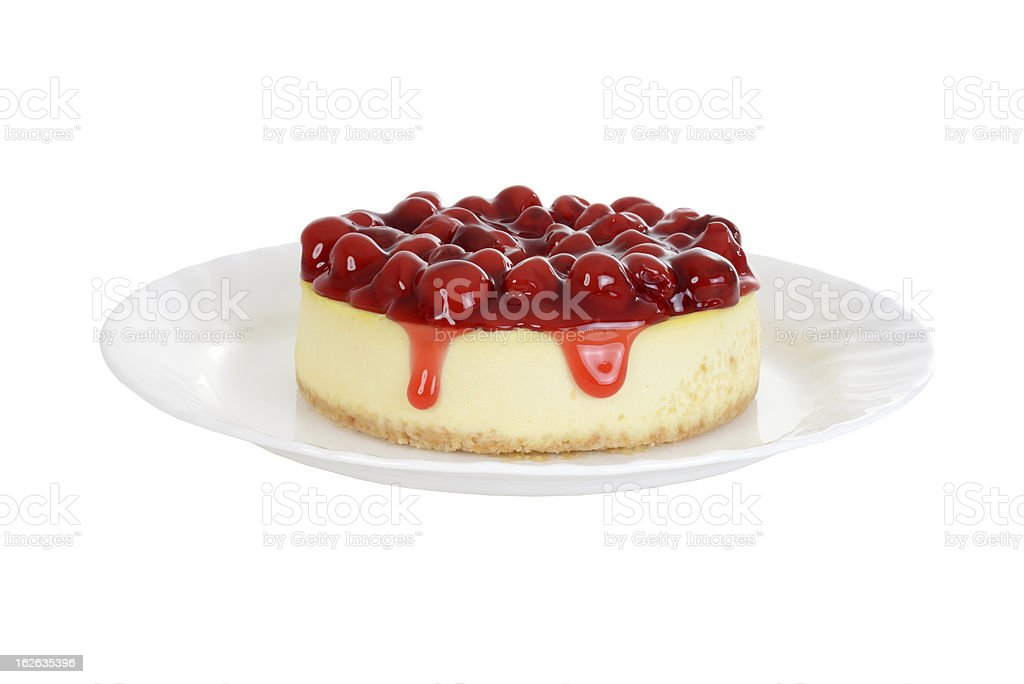 Cherry cheesecake isolated stock photo
