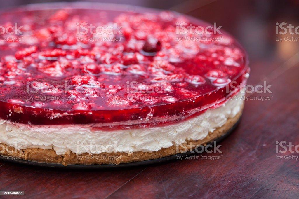 Cherry cheesecake macro stock photo