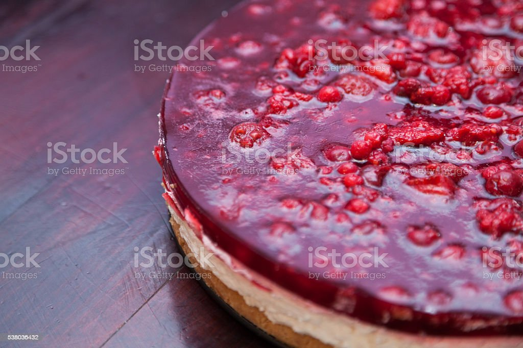 Cherry cheesecake stock photo