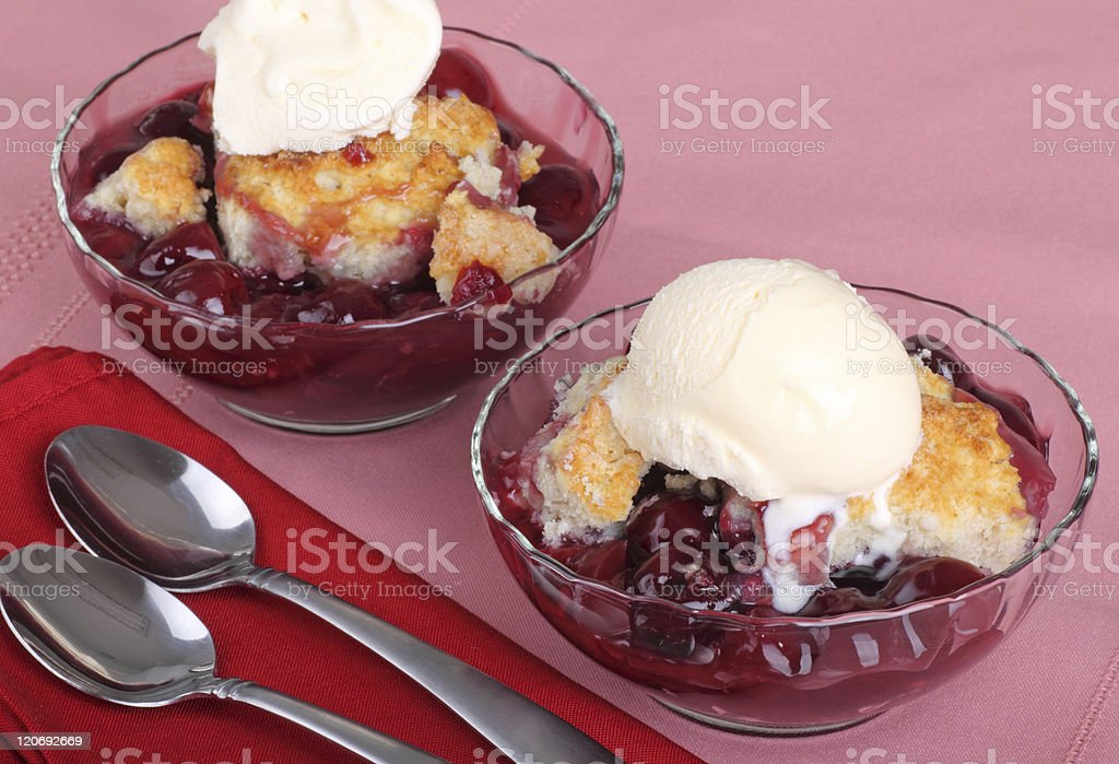 Cherry Cobbler Dessert stock photo