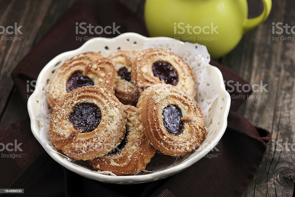 Cherry cream marzipan cookie royalty-free stock photo