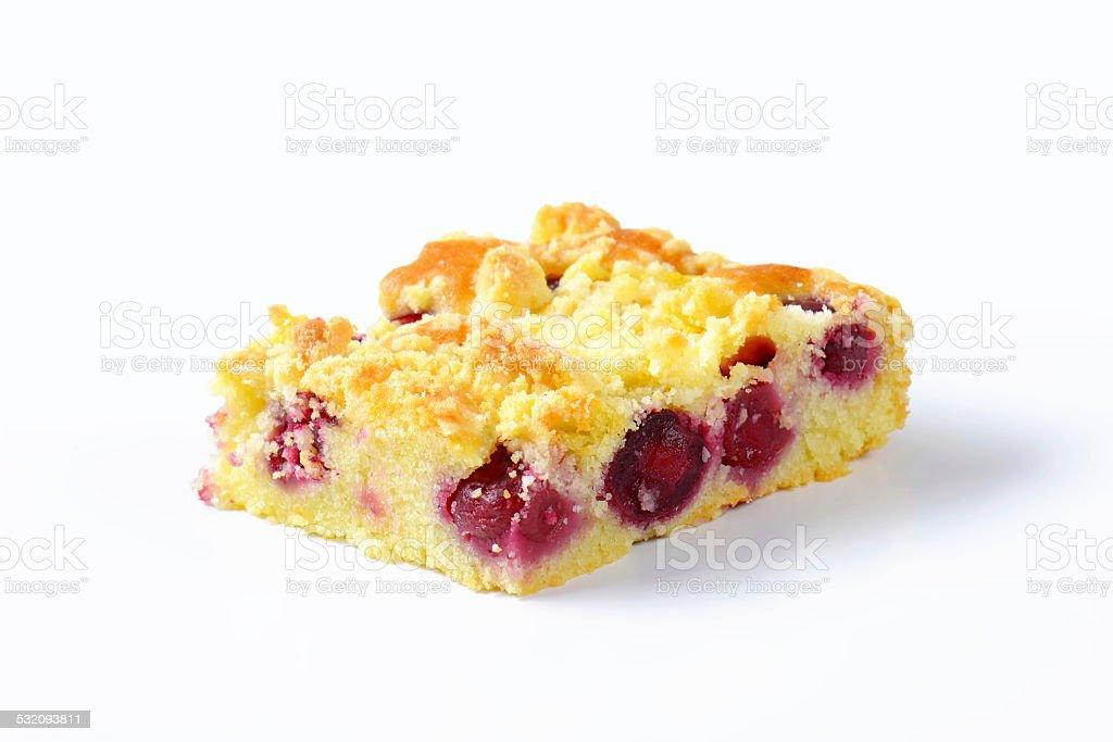 Cherry crumb cake stock photo