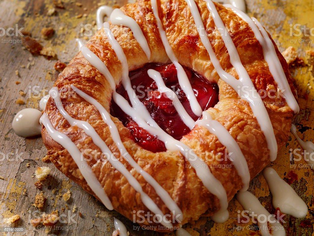 Cherry Danish with Vanilla Icing stock photo