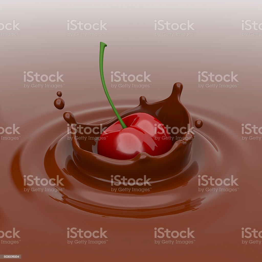Cherry falling in chocolate. royalty-free stock photo