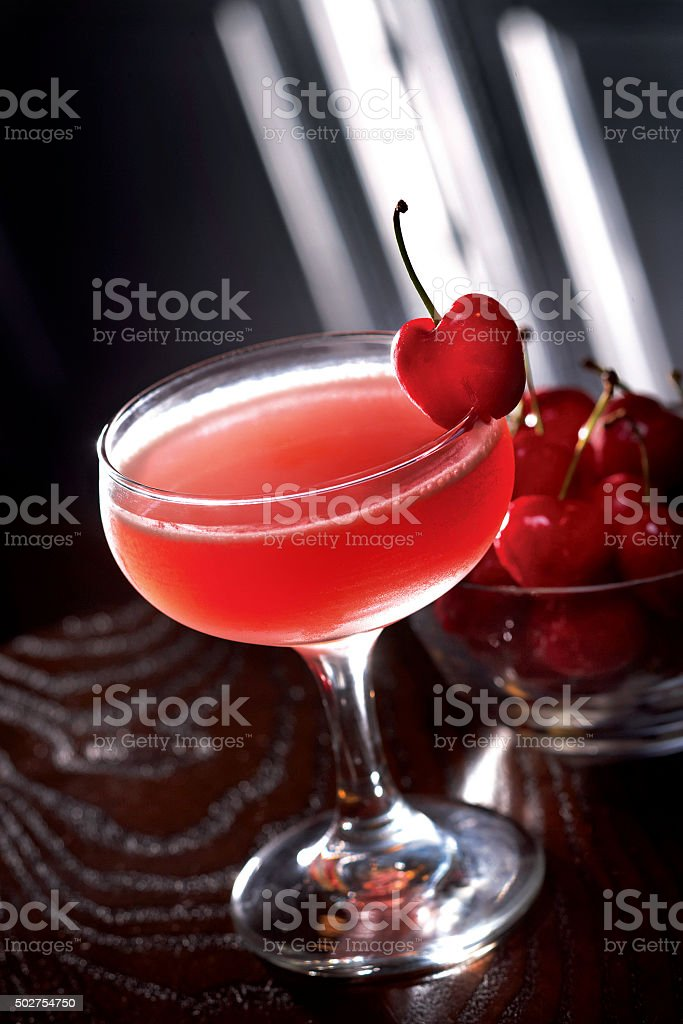 Cherry Flavored Mixed Drink Cocktail stock photo