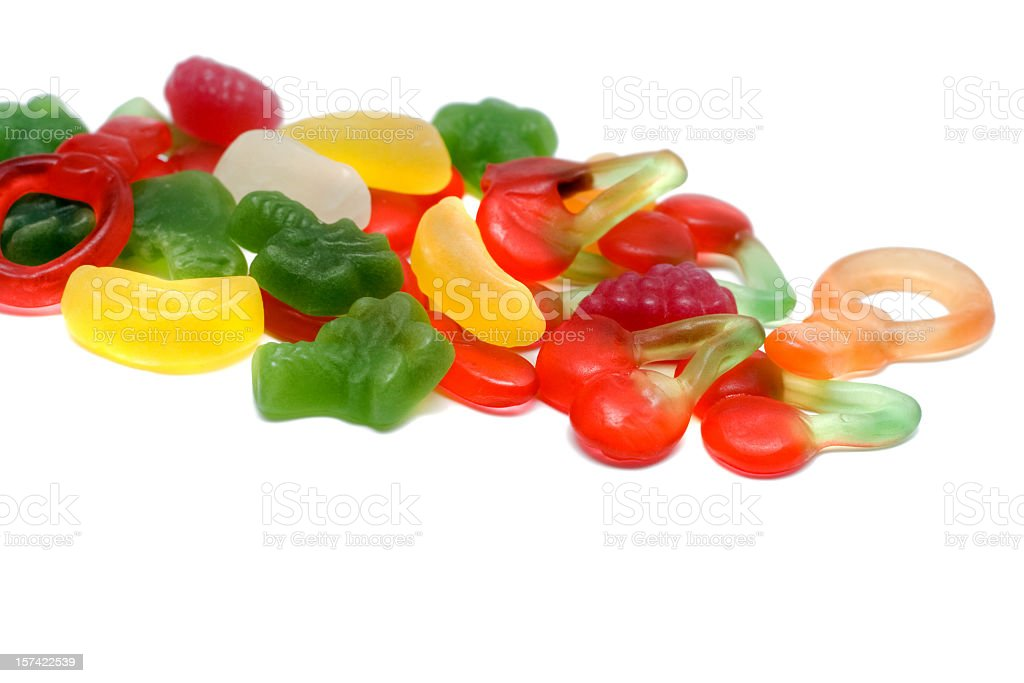 Cherry fruit gummy on white background stock photo