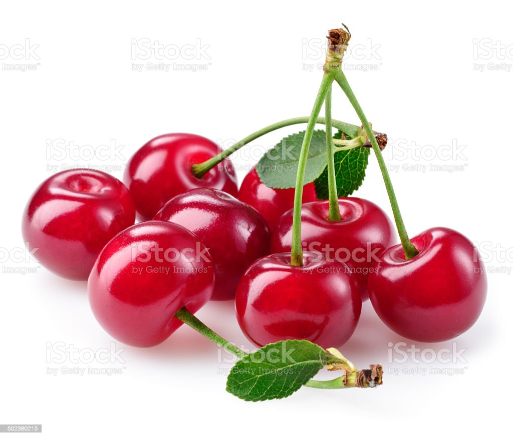 Cherry. Heap of berries isolated on white stock photo