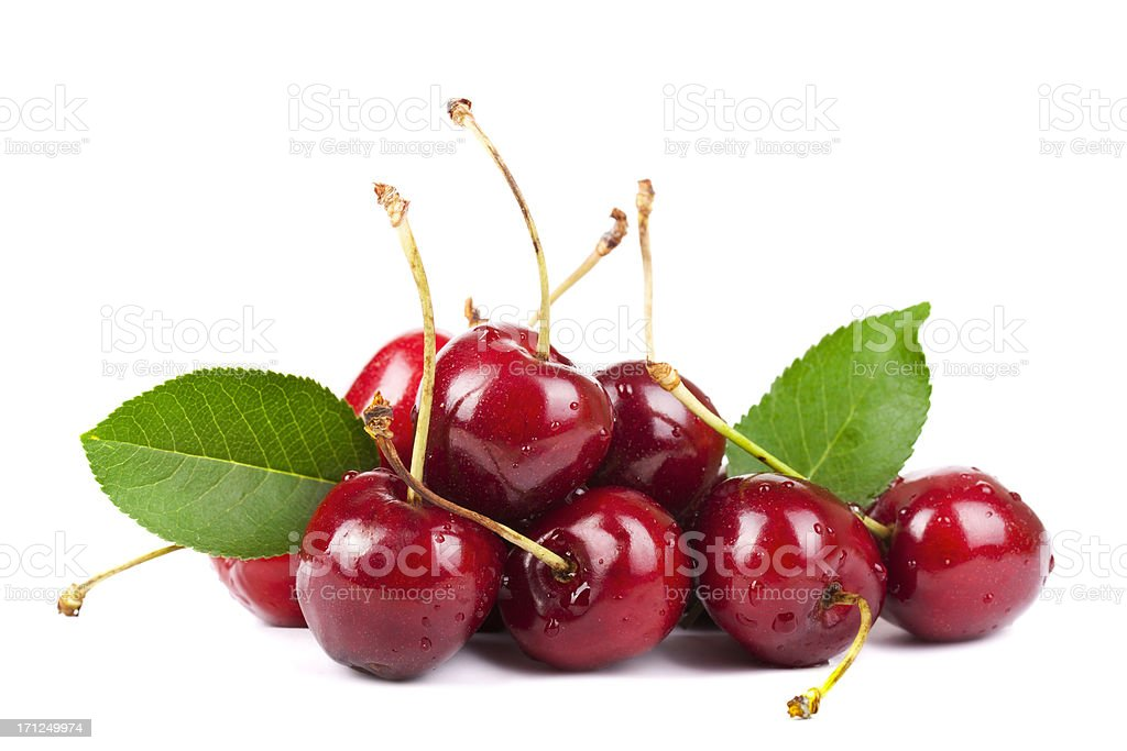 Cherry heap with Leafs stock photo