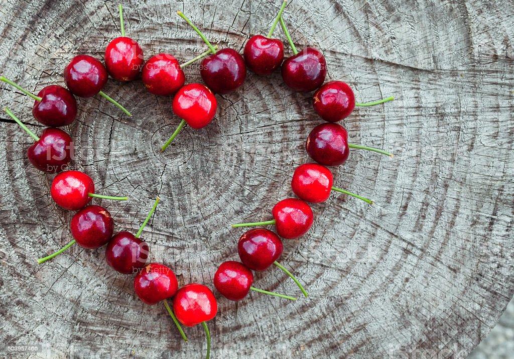 Cherry heart stock photo