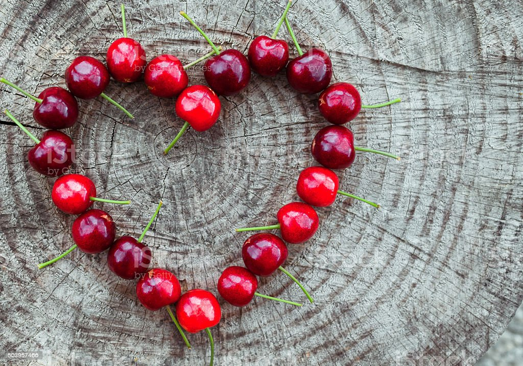 Cherry heart stock photo