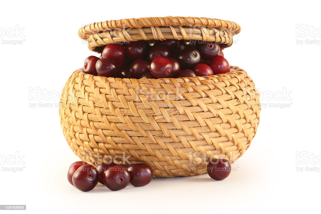 Cherry in a basket royalty-free stock photo