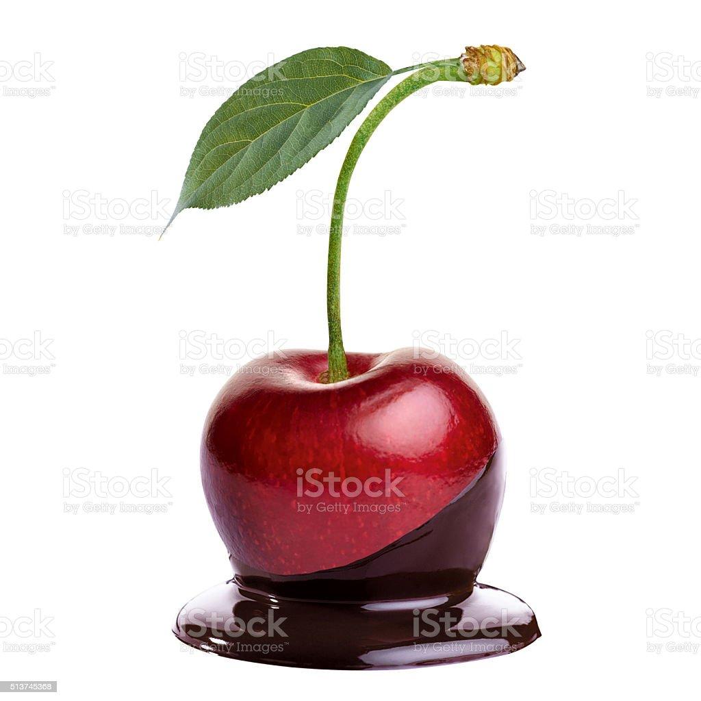 Cherry in hot chocolate stock photo