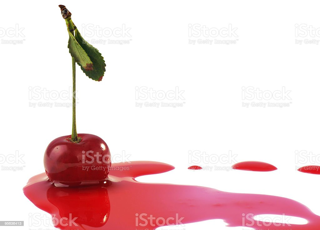 Cherry in juice stock photo