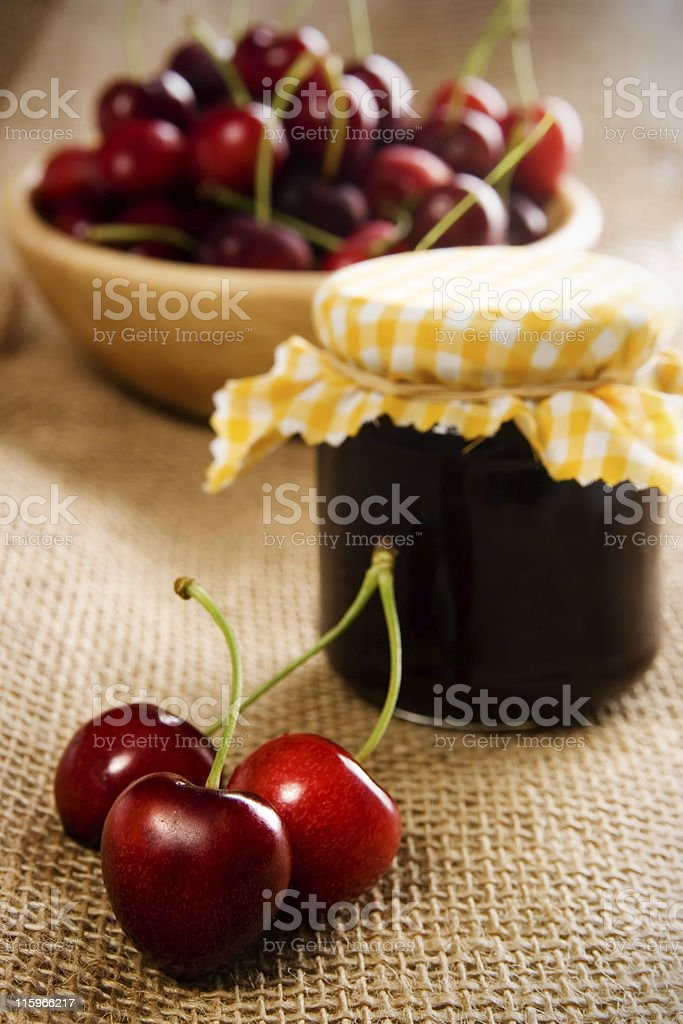 Cherry jam stock photo