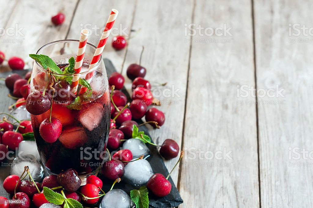Cherry juice background stock photo
