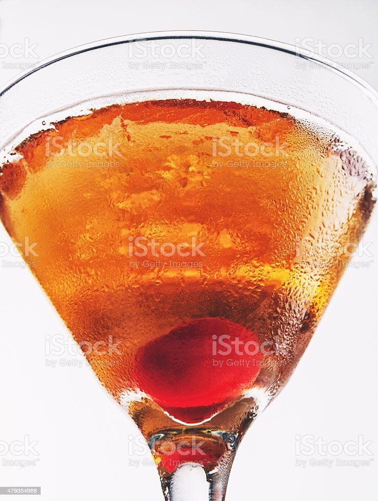 Cherry Martini or Manhattan cocktail stock photo
